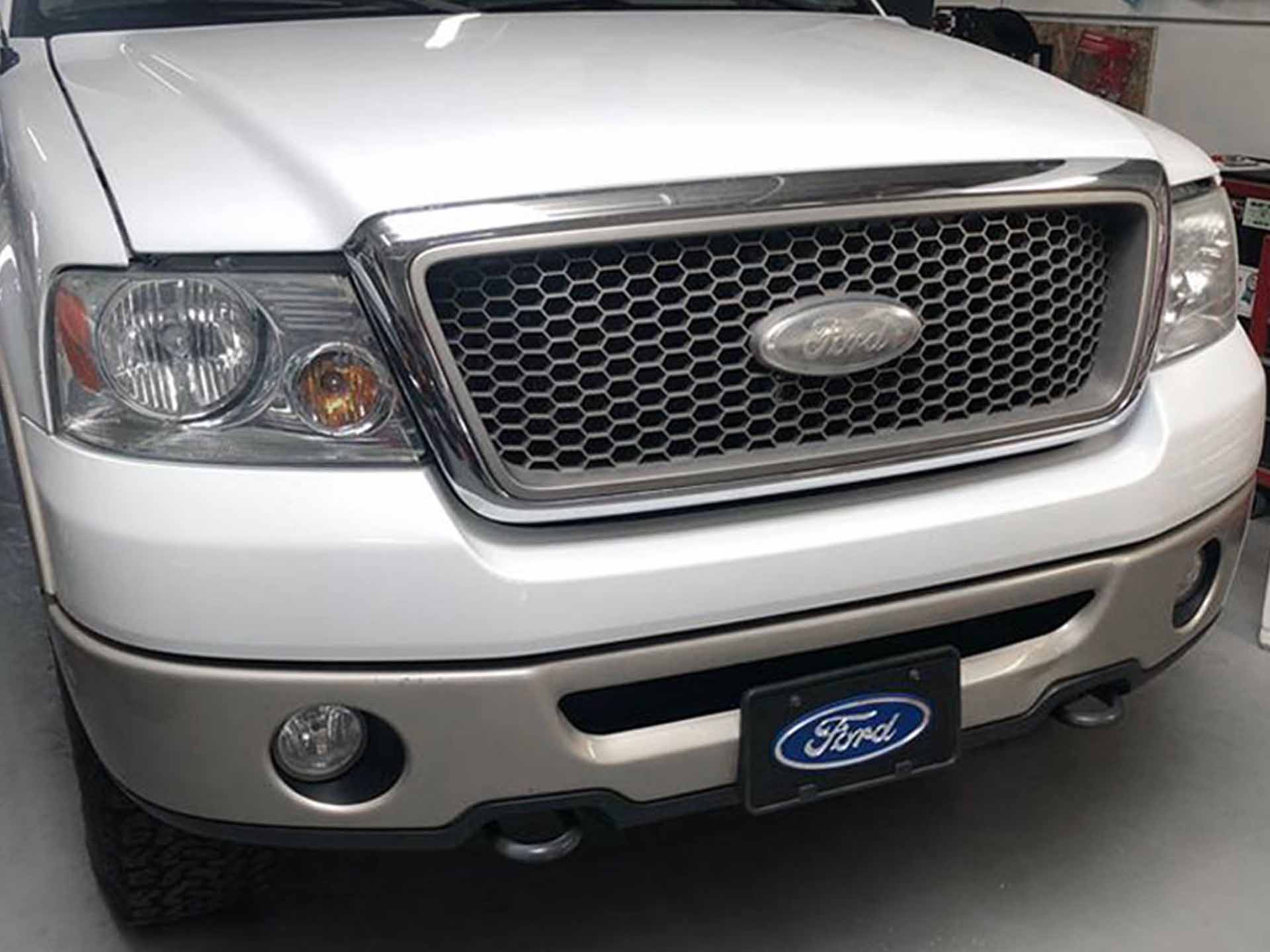 Ford F150 white grill light tint before